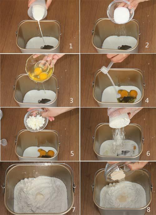 面包桶里加入材料